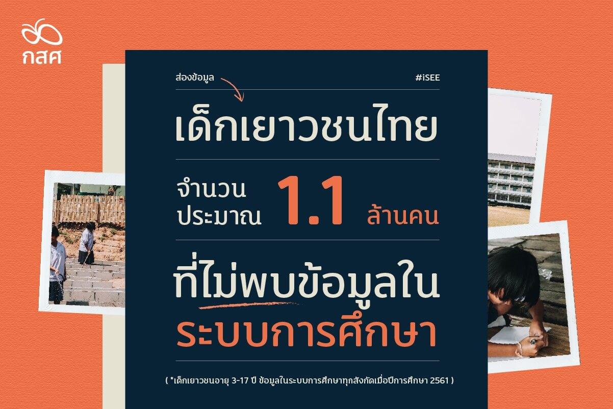 สะท้อนตัวเลขเด็กและเยาวชนไทยที่ไม่มีข้อมูลในระบบการศึกษาไปกับ iSEE